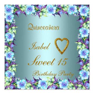 "Quinceanera Sweet 15 Birthday Invitation Teal 5.25"" Square Invitation Card"