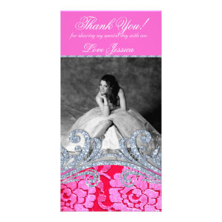 Quinceanera Sweet Sixteen Floral Lace Glitter Photo Greeting Card
