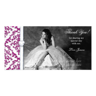 Quinceanera Sweet Sixteen Glitter Damask Card