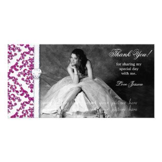 Quinceanera Sweet Sixteen Glitter Damask Photo Greeting Card