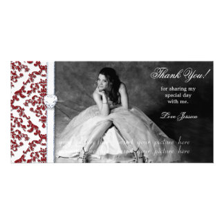 Quinceanera Sweet Sixteen Glitter Damask Picture Card