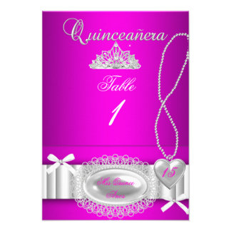 Quinceanera table number cards Hot Pink Lace