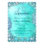 Quinceanera Teal Blue Ocean Jewel Birthday Party 13 Cm X 18 Cm Invitation Card