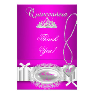 Quinceanera thank you Hot Pink Lace Invites