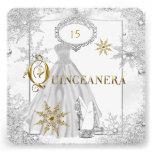 Quinceanera White Silver Snowflakes Tiara Custom Announcements