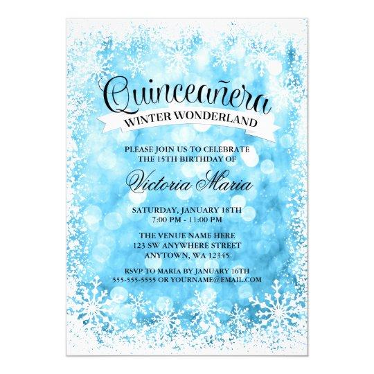 Quinceanera Winter Wonderland Blue Sparkle Card
