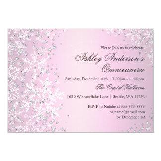 Quinceanera Winter Wonderland Pink Snowflakes Card