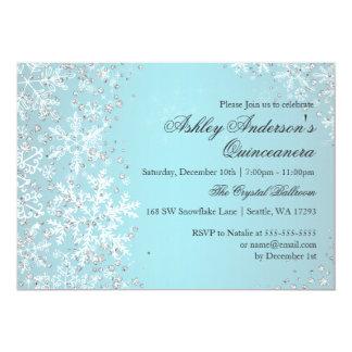 Quinceanera Winter Wonderland Sparkle Snowflakes Card