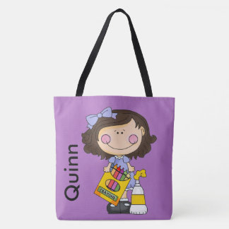 Quinn Loves Crayons Tote Bag