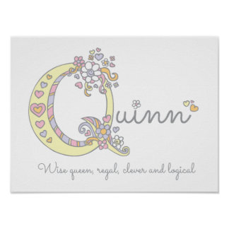 Quinn monogram art girls name and meaning poster
