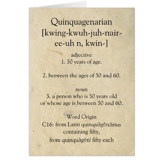 Quinquagenarian Dictionary Meaning Happy 50th Card Zazzlecouk