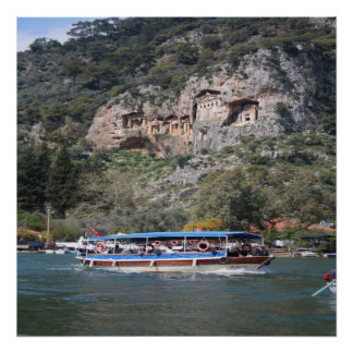 Quintessentially Dalyan: River Boats and Rock Tomb Poster