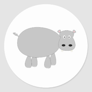 Quirky and cute cartoon hippo t-shirts and gifts round stickers