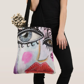 Quirky Bold Collage Art Graffiti Eyes Lips Bright Tote Bag