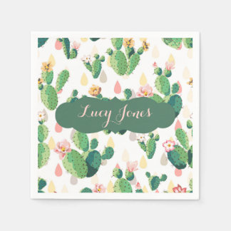 Quirky Cactus themed Napkin with Custom Name Disposable Serviettes