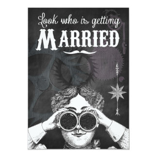 Quirky Chalkboard Steampunk Wedding Invitations