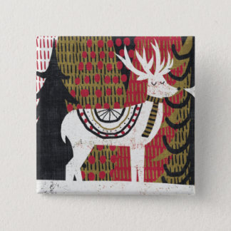 Quirky Christmas Deer 15 Cm Square Badge