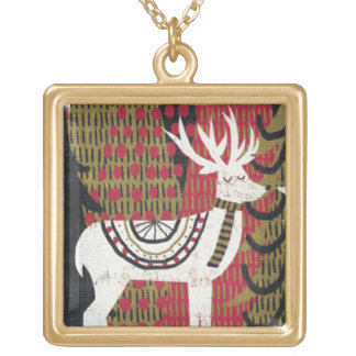 Quirky Christmas Deer Gold Plated Necklace