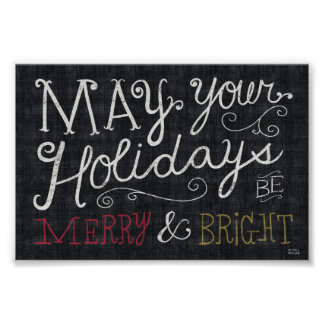 Quirky Christmas Merry and Bright Poster