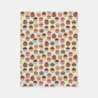 Quirky Colorful Cupcakes Illustration Pattern Fleece Blanket