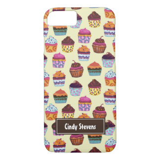 Quirky Colorful Cupcakes Illustration Pattern iPhone 8/7 Case