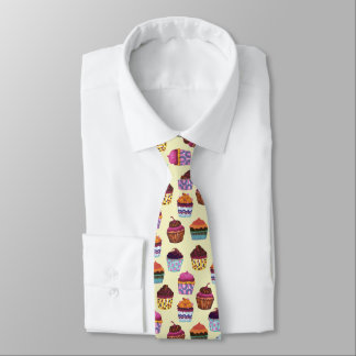 Quirky Colorful Cupcakes Illustration Pattern Tie