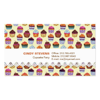 Quirky Colorful Cupcakes w/ Lace Business Card