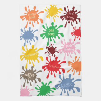 Quirky Colorful Food Stain Splatter Tea Towel