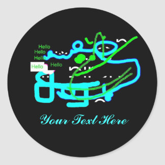 Quirky Creature Says Hello Classic Round Sticker