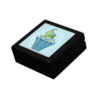 Quirky Cupcake Blue Boat Tile Gift Box