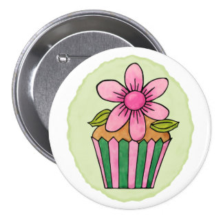 Quirky Cupcakes Pink Daisy Round Button