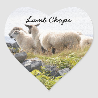 Quirky Designs - Sheep in a field Heart Sticker
