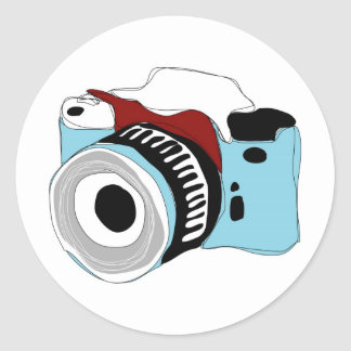 Quirky digital camera illustration classic round sticker