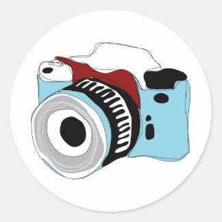 Quirky digital camera illustration round sticker