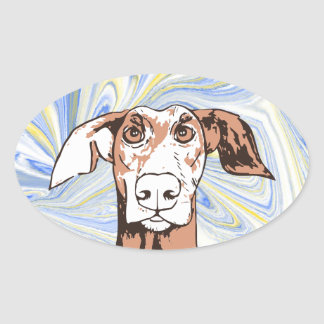 Quirky dog oval sticker