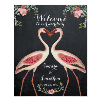 quirky flamingo welcome wedding sign chalkboard