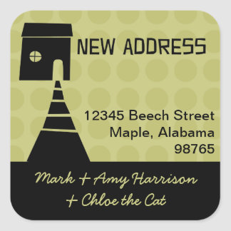 Quirky Fun New Address Avocado Square Sticker