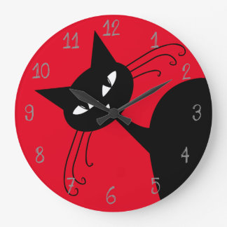 Quirky Funny Black Cat Feline Large Clock