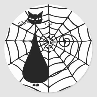 Quirky Funny Black Cat Feline Round Sticker