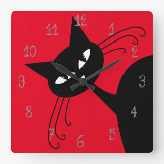 Quirky Funny Black Cat Feline Square Wall Clock
