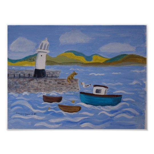 Quirky harbour Smeatons Pier St Ives Poster
