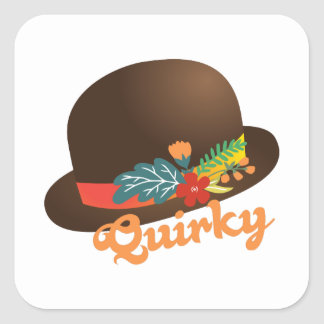Quirky Hat Square Stickers