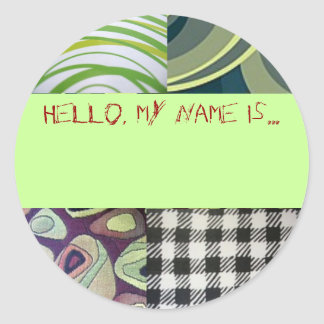 "Quirky ""Hello, my name is..."" button Classic Round Sticker"