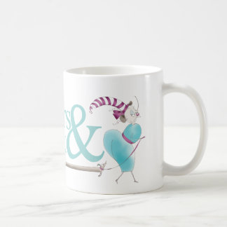 Quirky Illustration Designer Mug in Teal & Pink