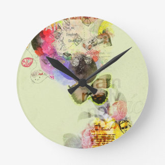 Quirky kitsch mixed media artwork. round wallclock