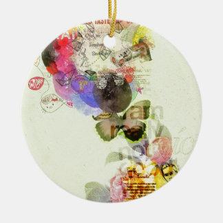 Quirky kitsch mixed media artwork. round ceramic decoration