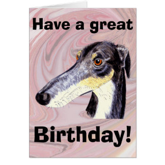 Quirky lurcher greeting card