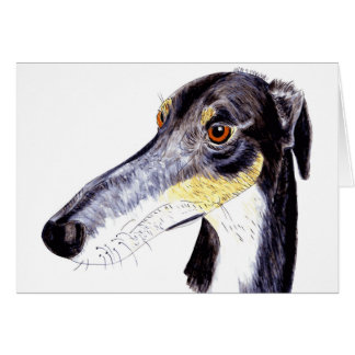 Quirky lurcher/ greyhound greetings card