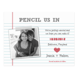 Quirky Note Photo Save The Date Card Postcards