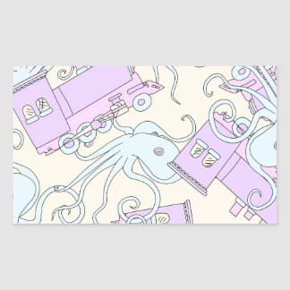 Quirky Octopus/Train Collage Rectangular Sticker